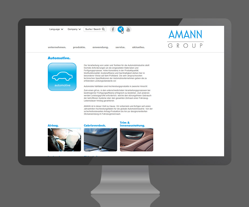 AMANN Group - Website Relaunch <strong>www.amann.com</strong>