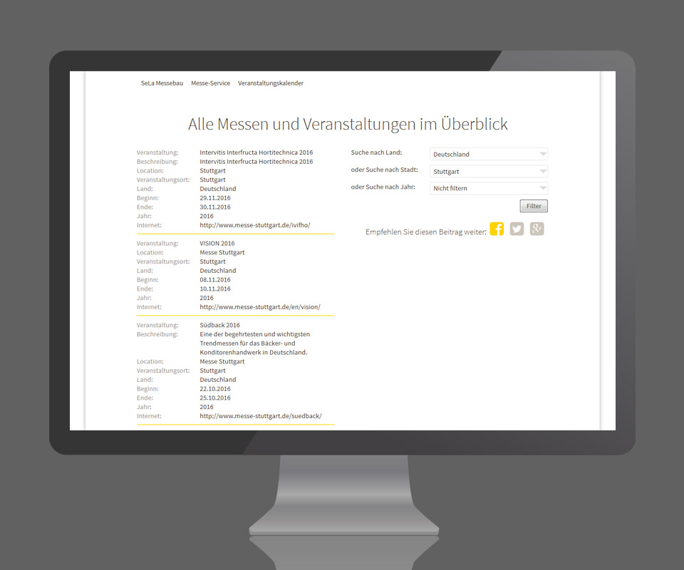 Sela Messebau - Website Relaunch <strong>www.sela-messebau.de</strong>